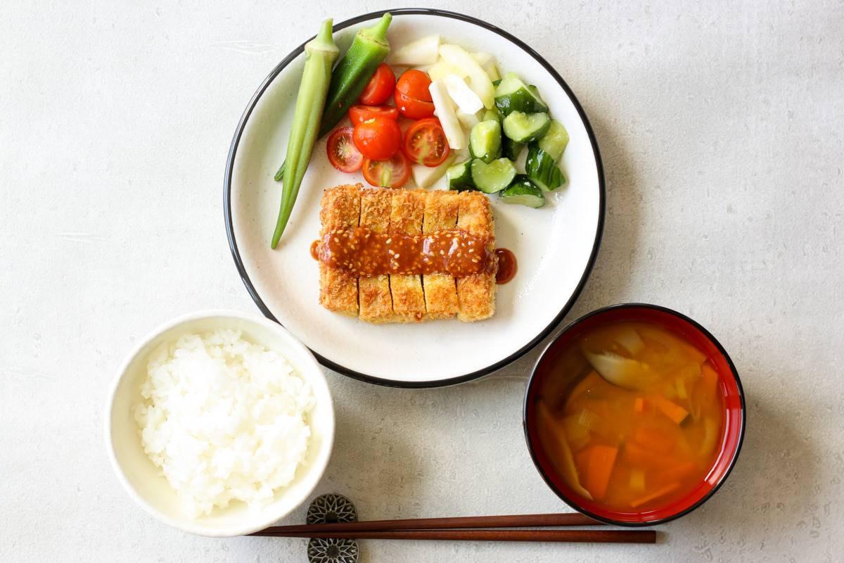 Japanese short grain rice, miso soup, and koyadofu katsu with veggies