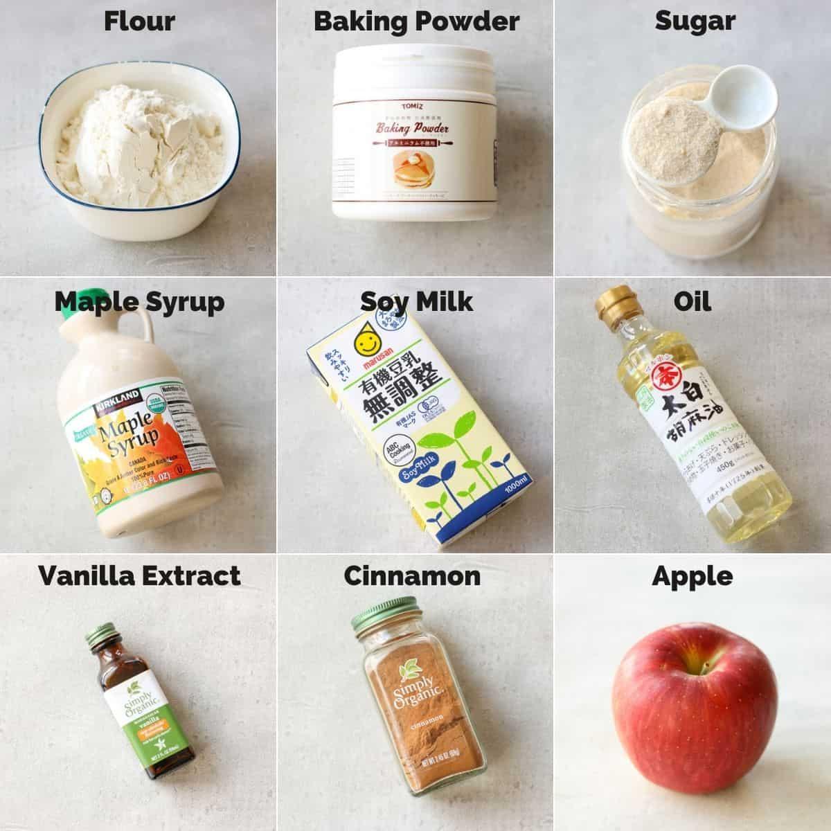 Ingredients for Vegan Apple Cinnamon Cake
