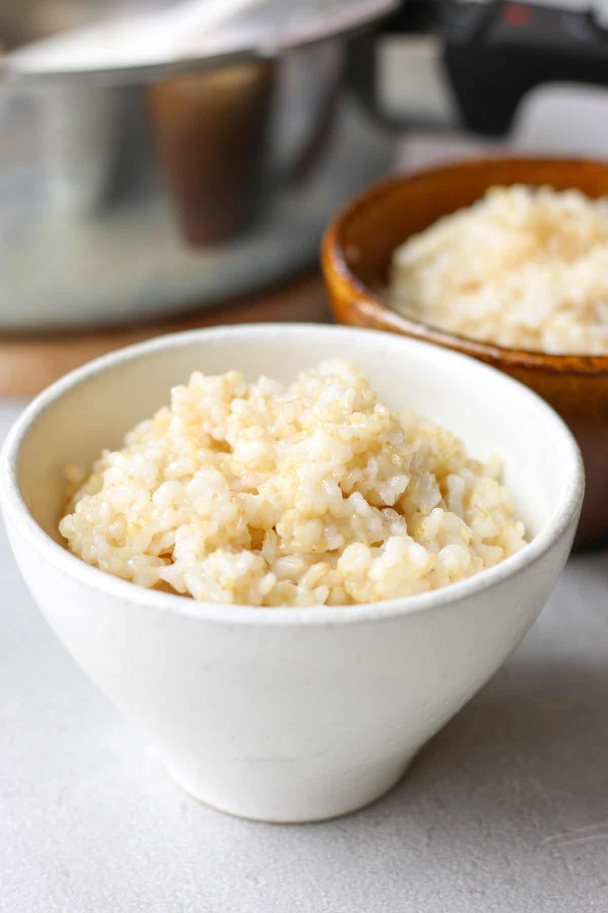 Japanese brown rice in a bowl