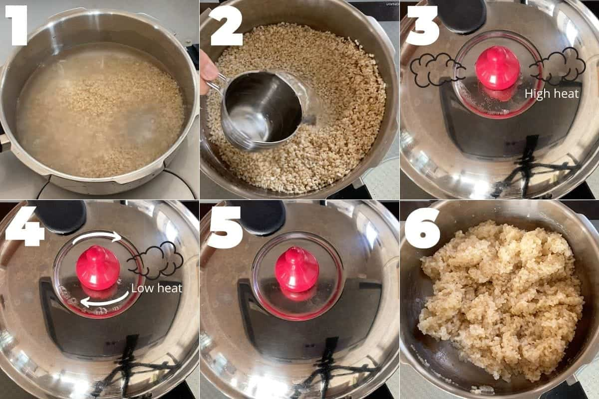 How to cook Japanese brown rice in a pressure cooker