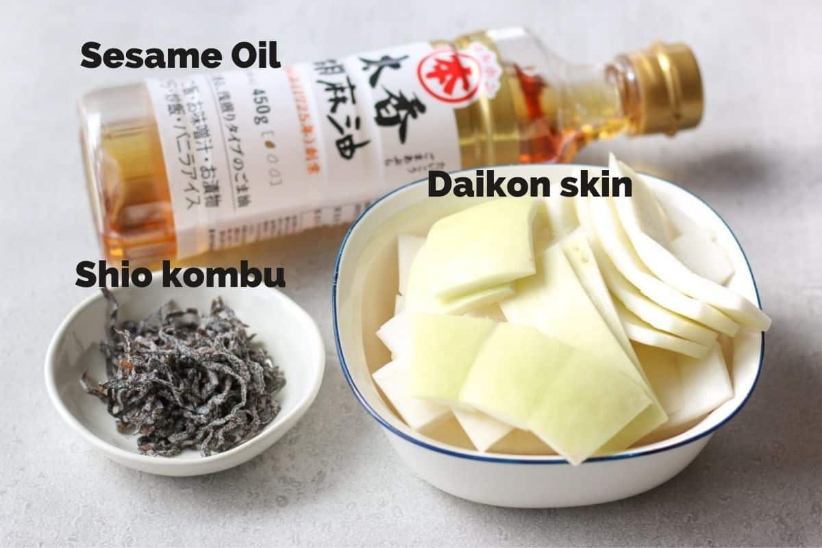 Daikon skin, sesame oil, shio kombu