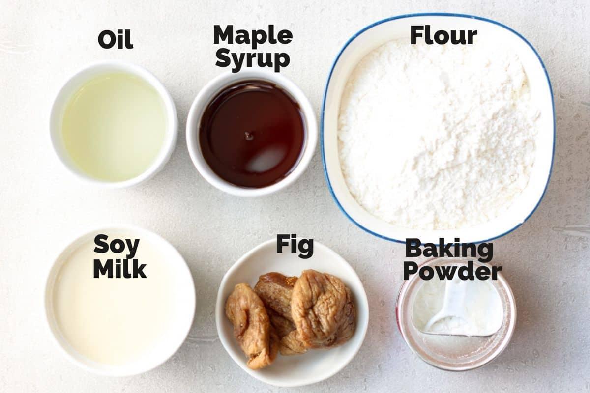 Ingredients for Simple Dried Fig Cake(Vegan)
