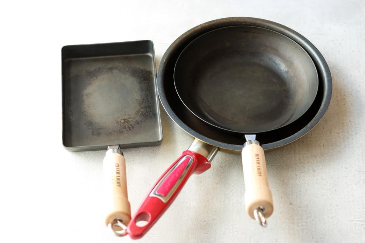 フライパン2つと卵焼き器