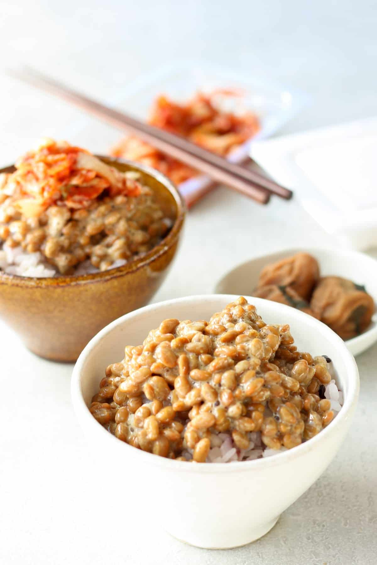2 bowls of natto gohan (over rice).