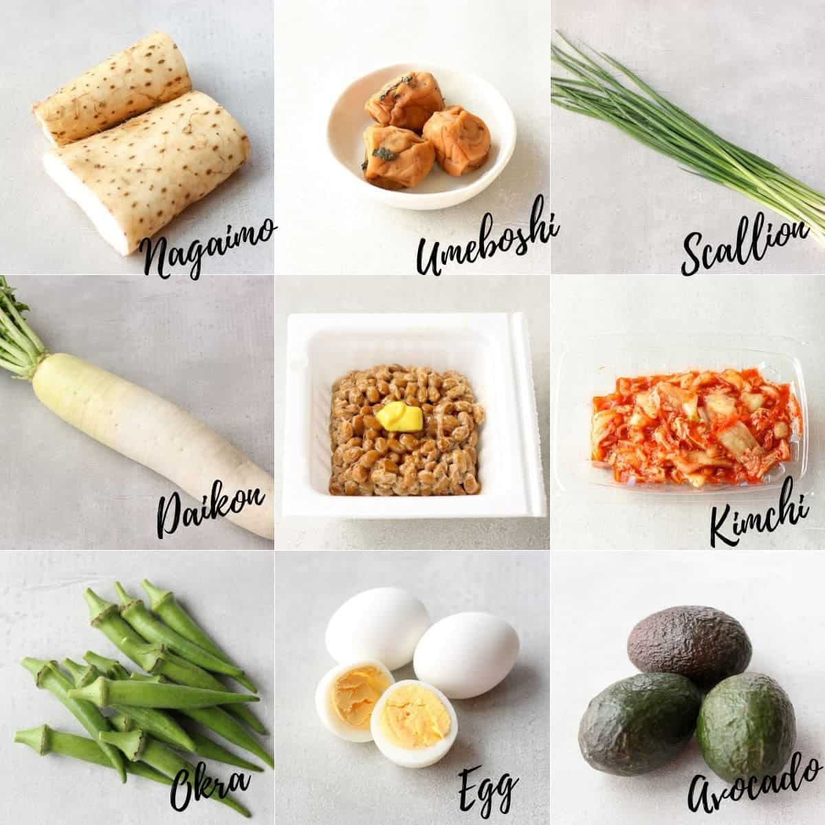 ingredients for natto gohan toppings