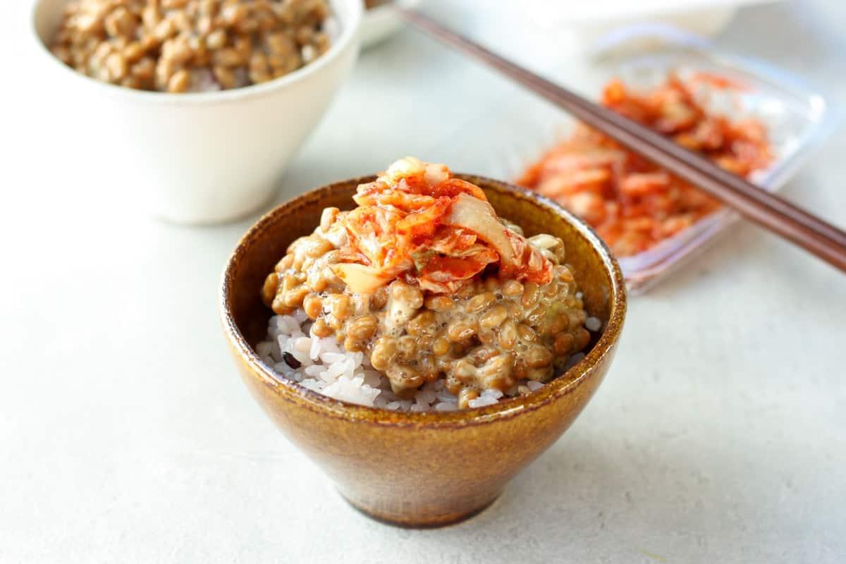 natto gohan with kimchi