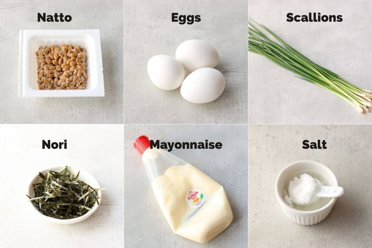 ingredients for natto omelette