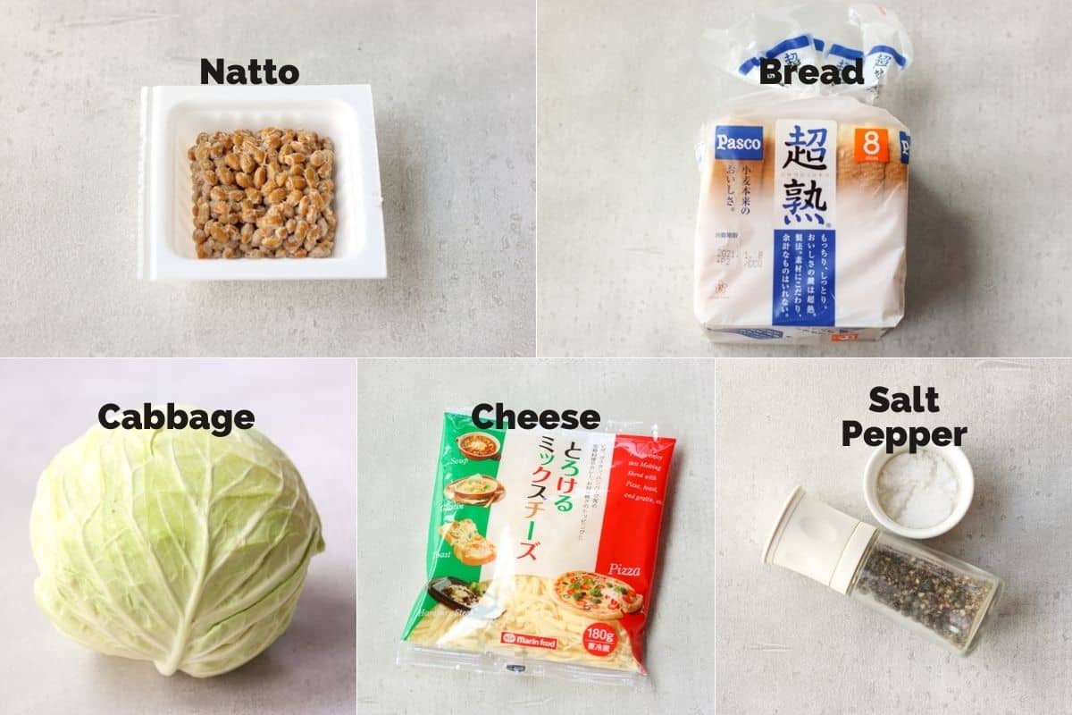 ingredients for natto cheese toast