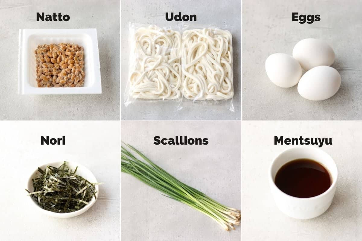 Ingredients for Chilled Natto Udon Noodle Bowl