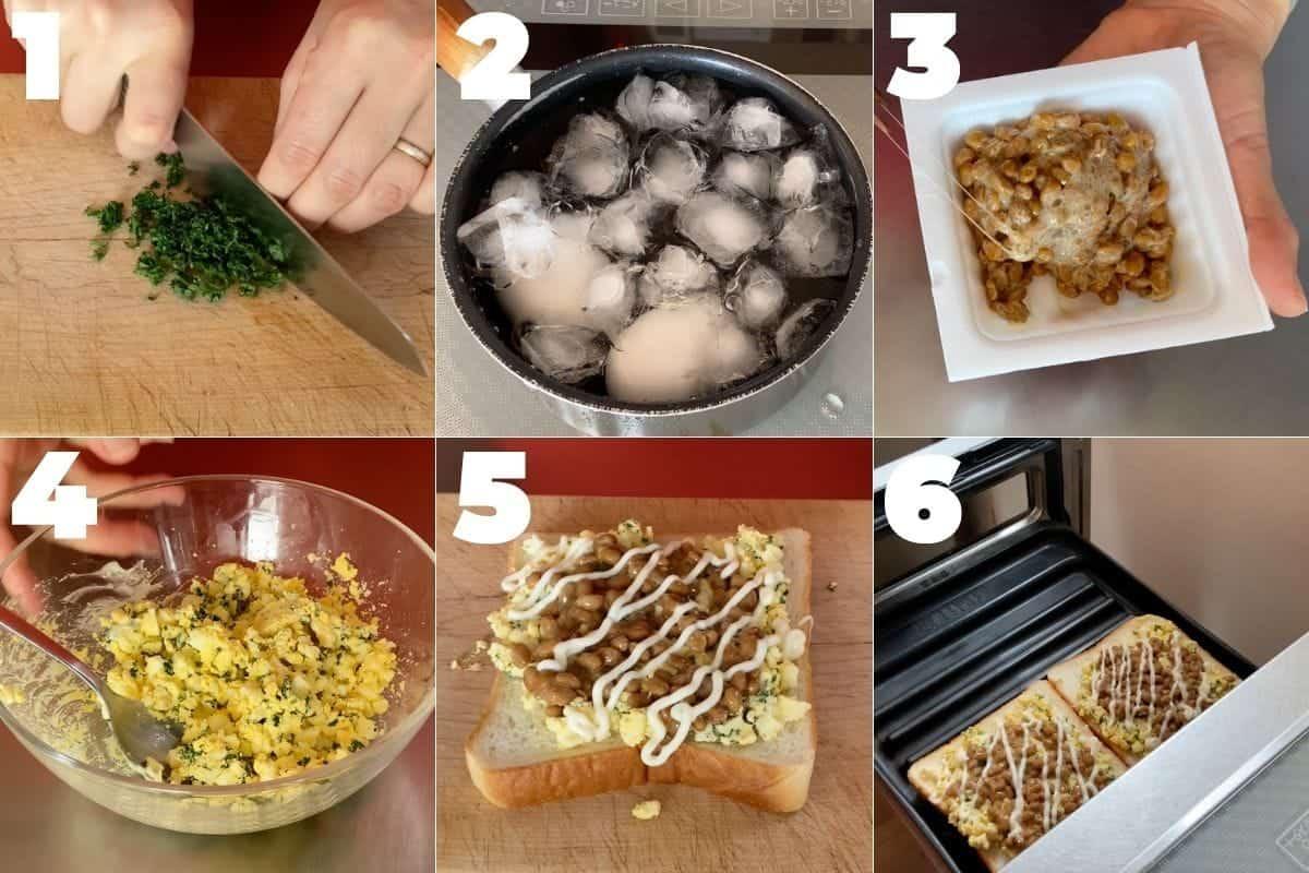 納豆のゆで卵トーストの作り方