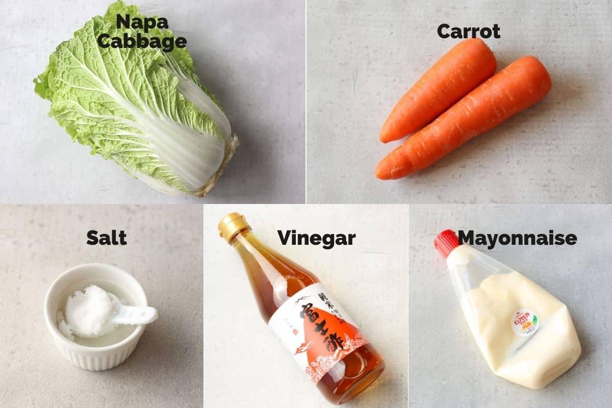 白菜のコールスローサラダの材料