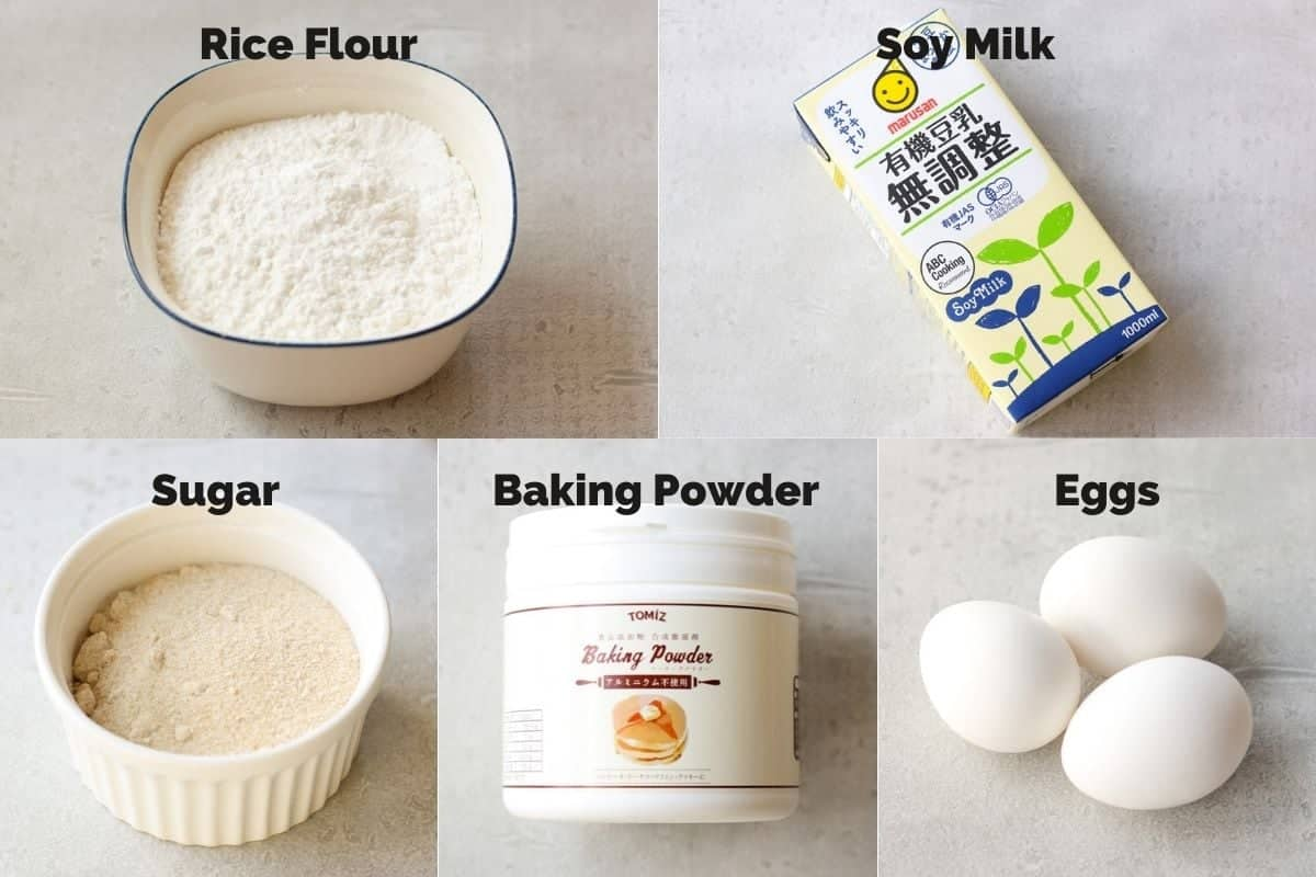 Ingredients for Fluffy Rice Flour Pancakes