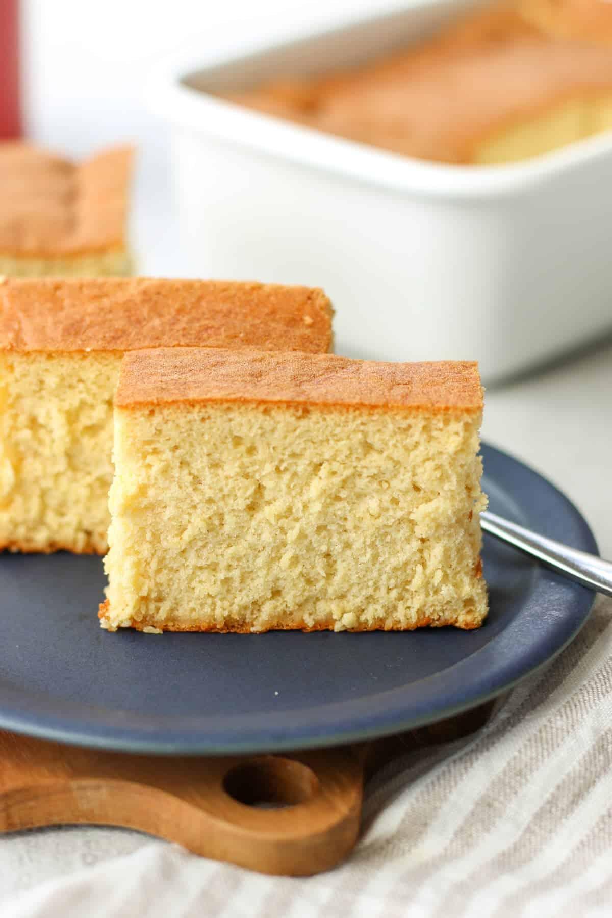 2 slices of Japanese castella cake on a dessert plate