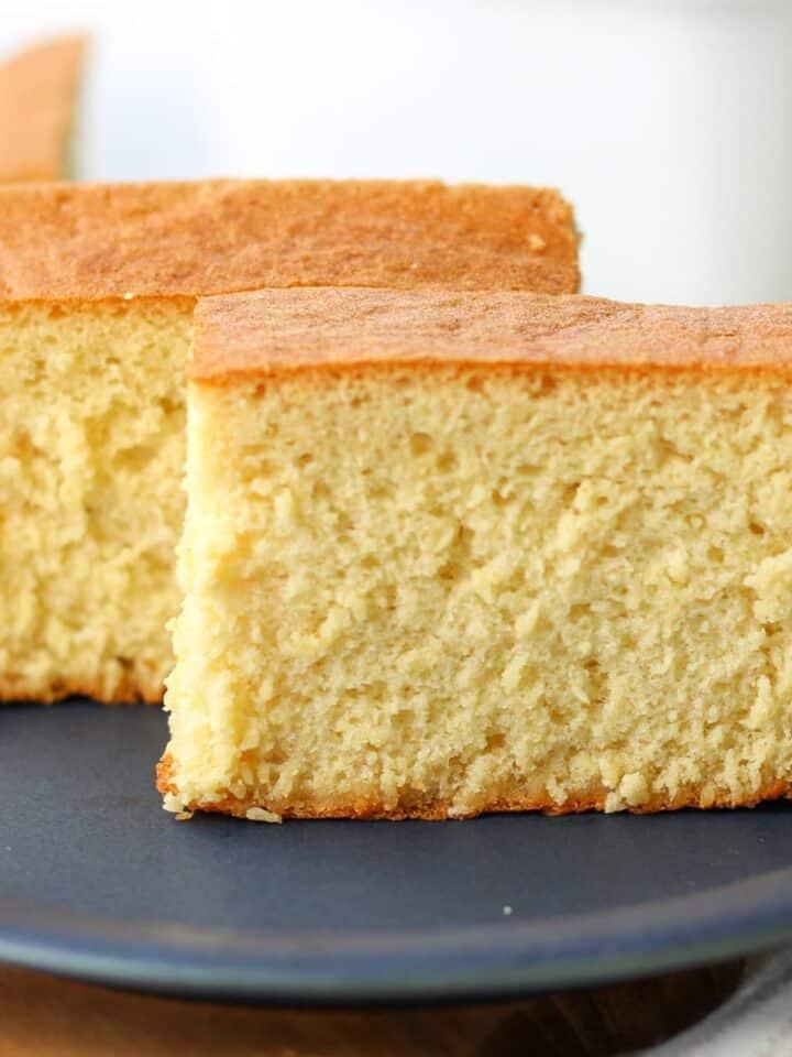 2 slices of Japanese castella cake