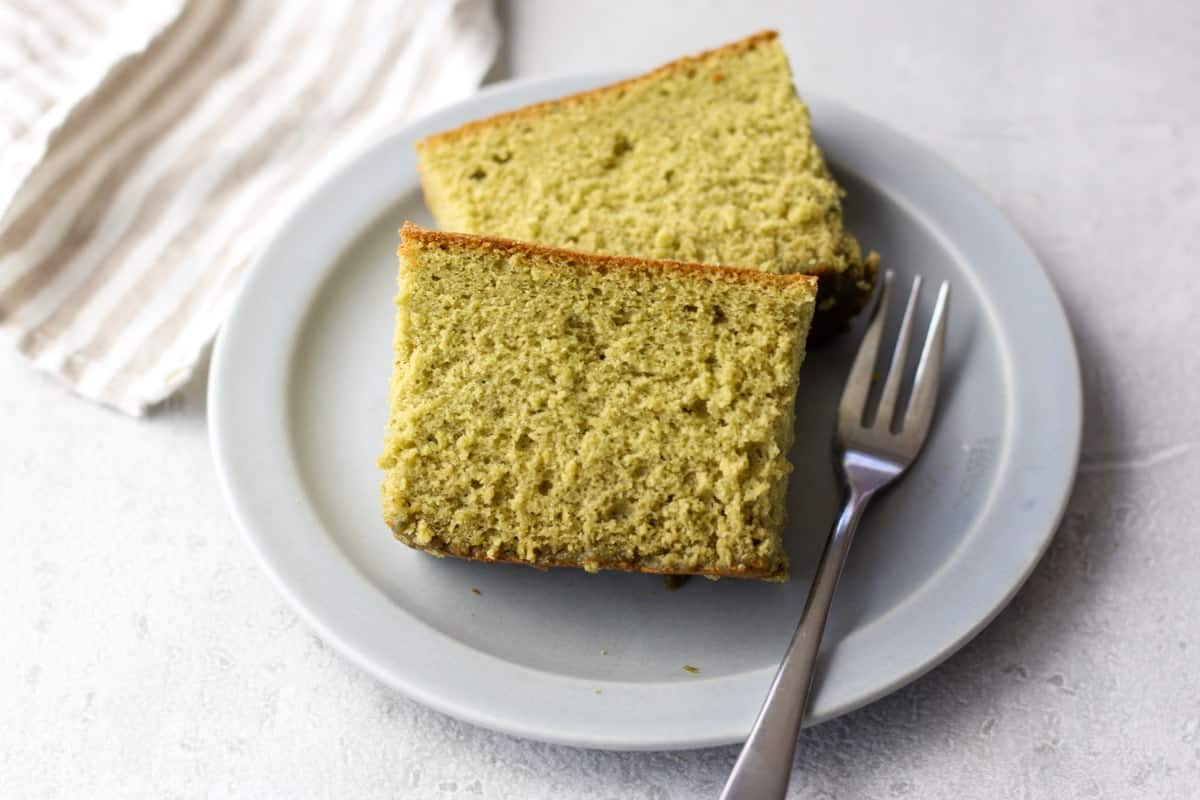 2 slices of matcha castella on a plate