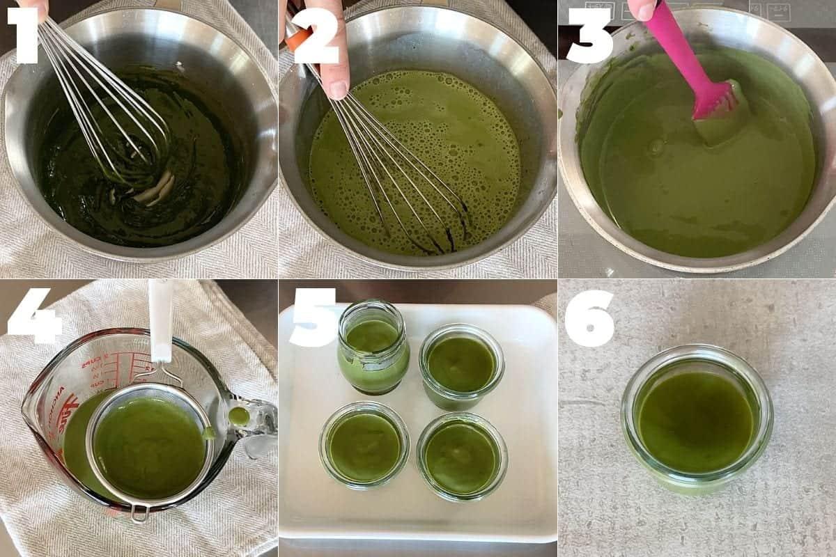 how to make matcha pudding with Shiratama dango