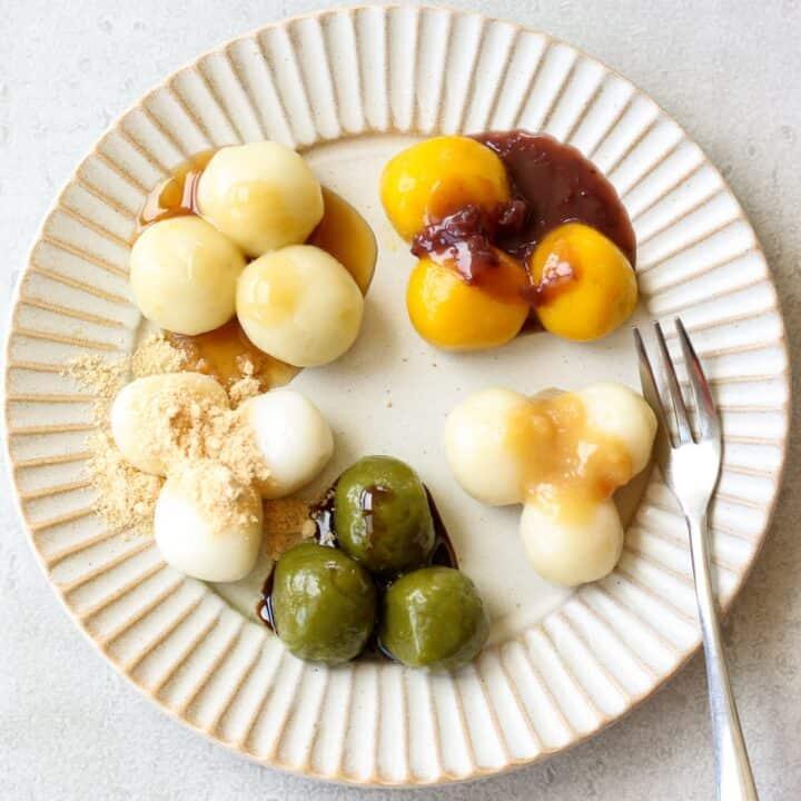 colorful shiratama dango on a plate