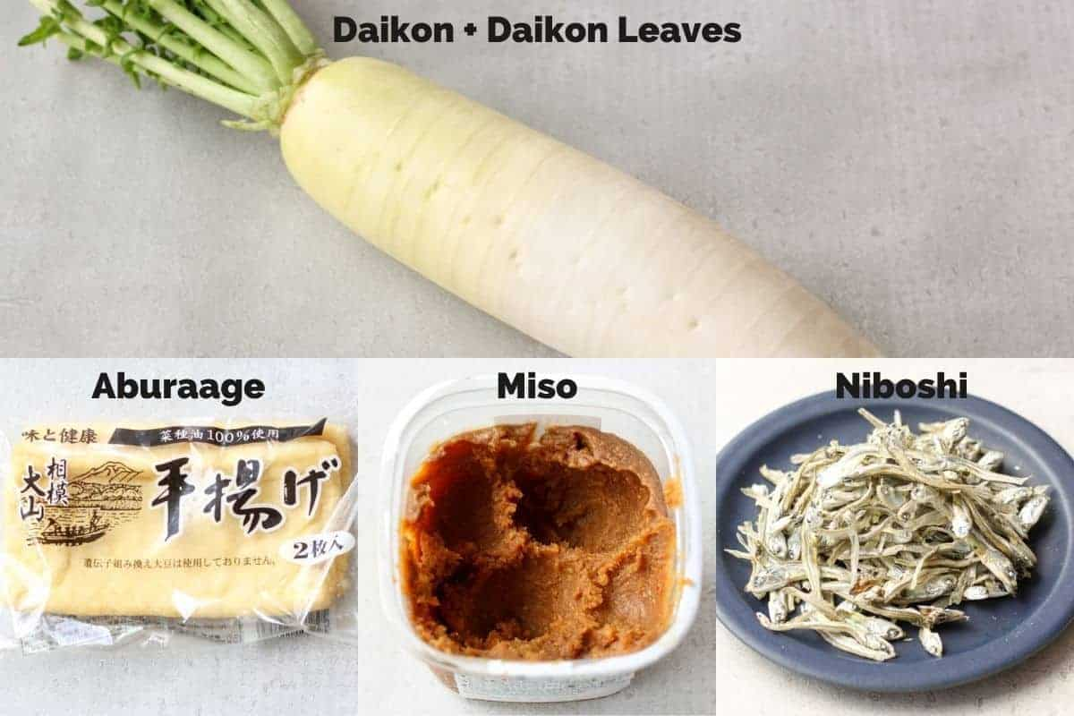 ingredients for daikon miso soup