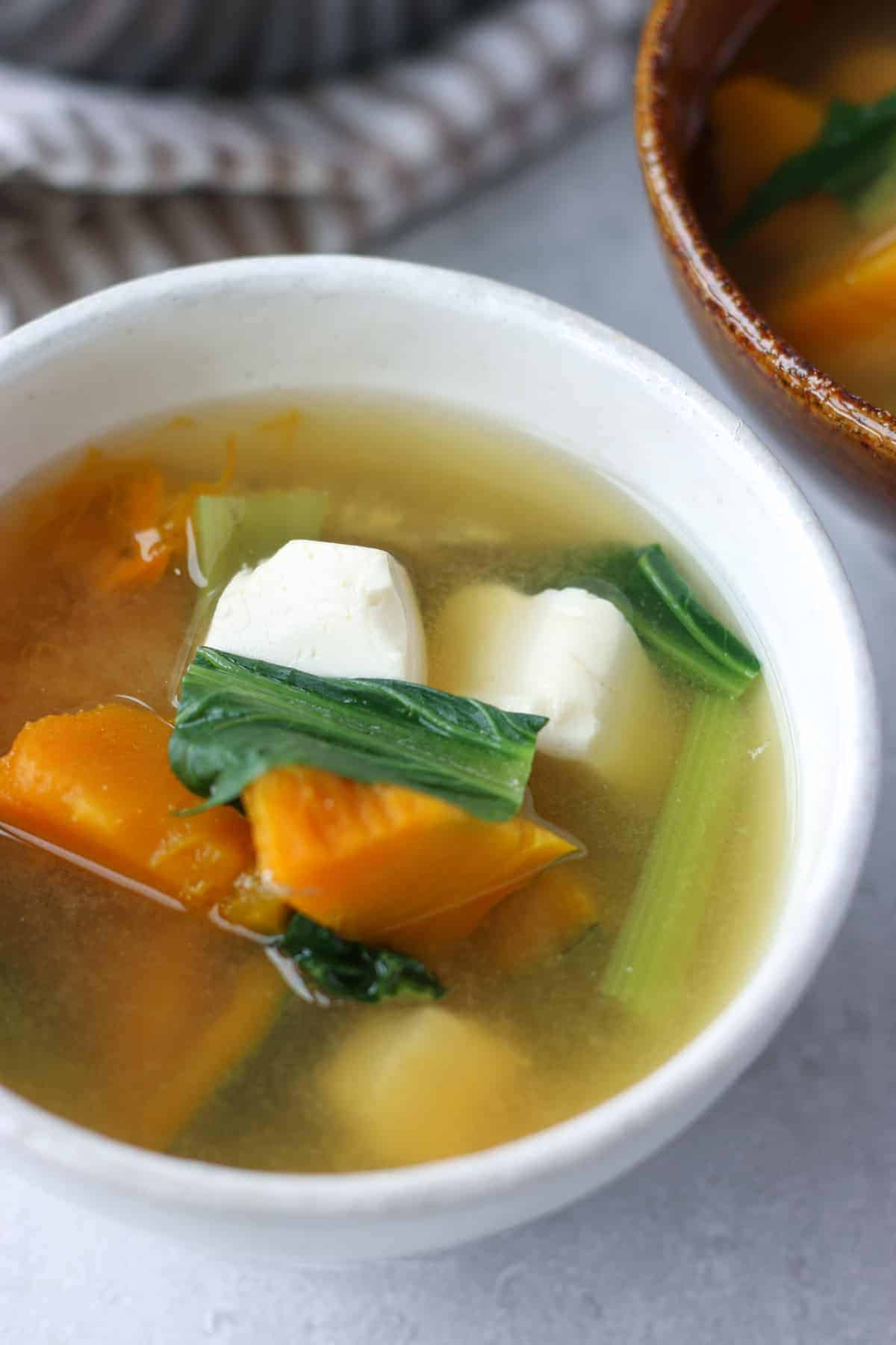 kabocha miso soup in a bowl