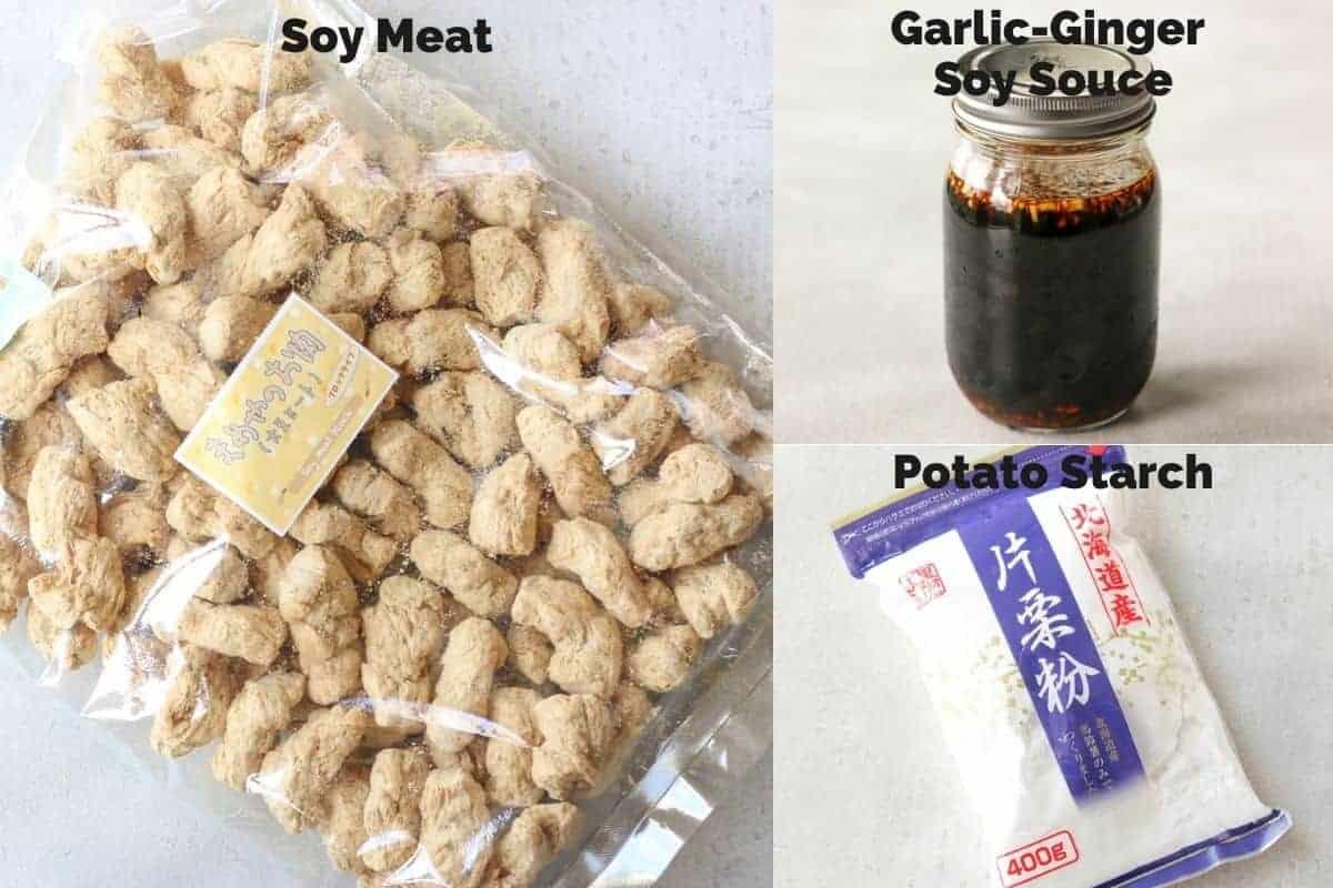 ingredients for vegan karaage (soy meat recipe)
