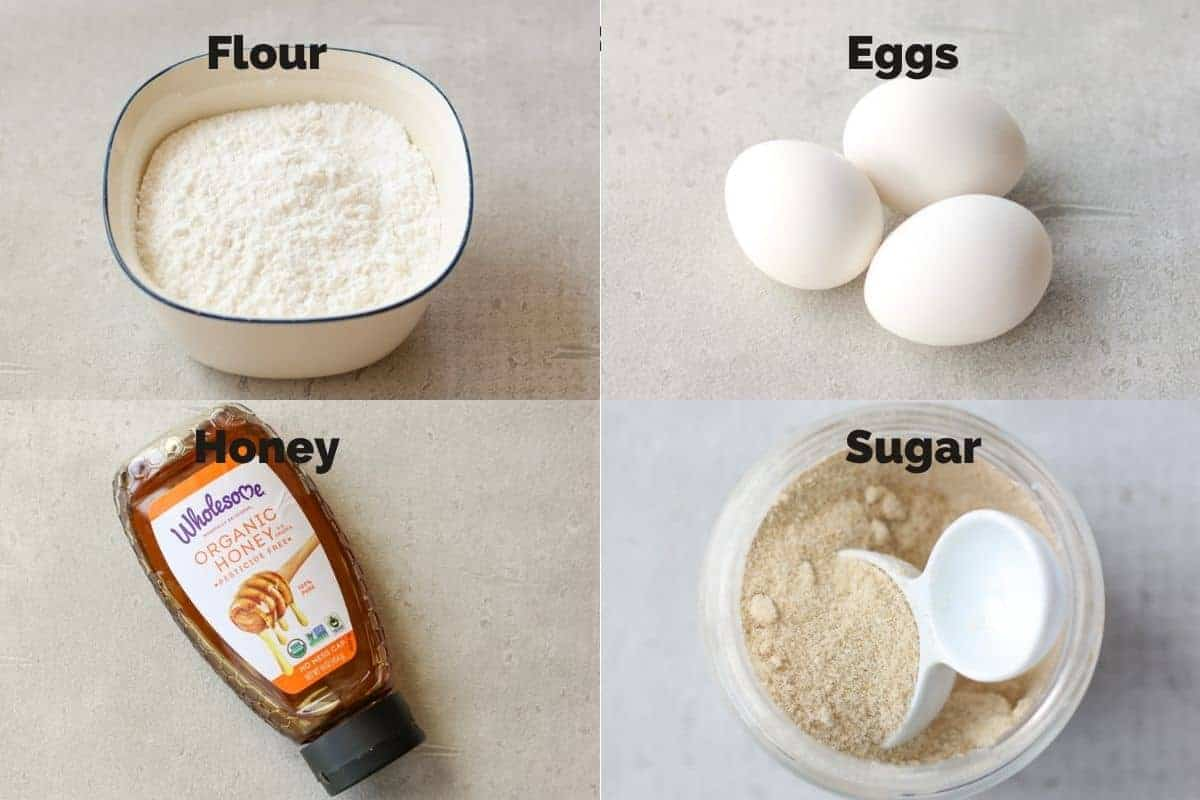 4 ingredients for Japanese castella cake