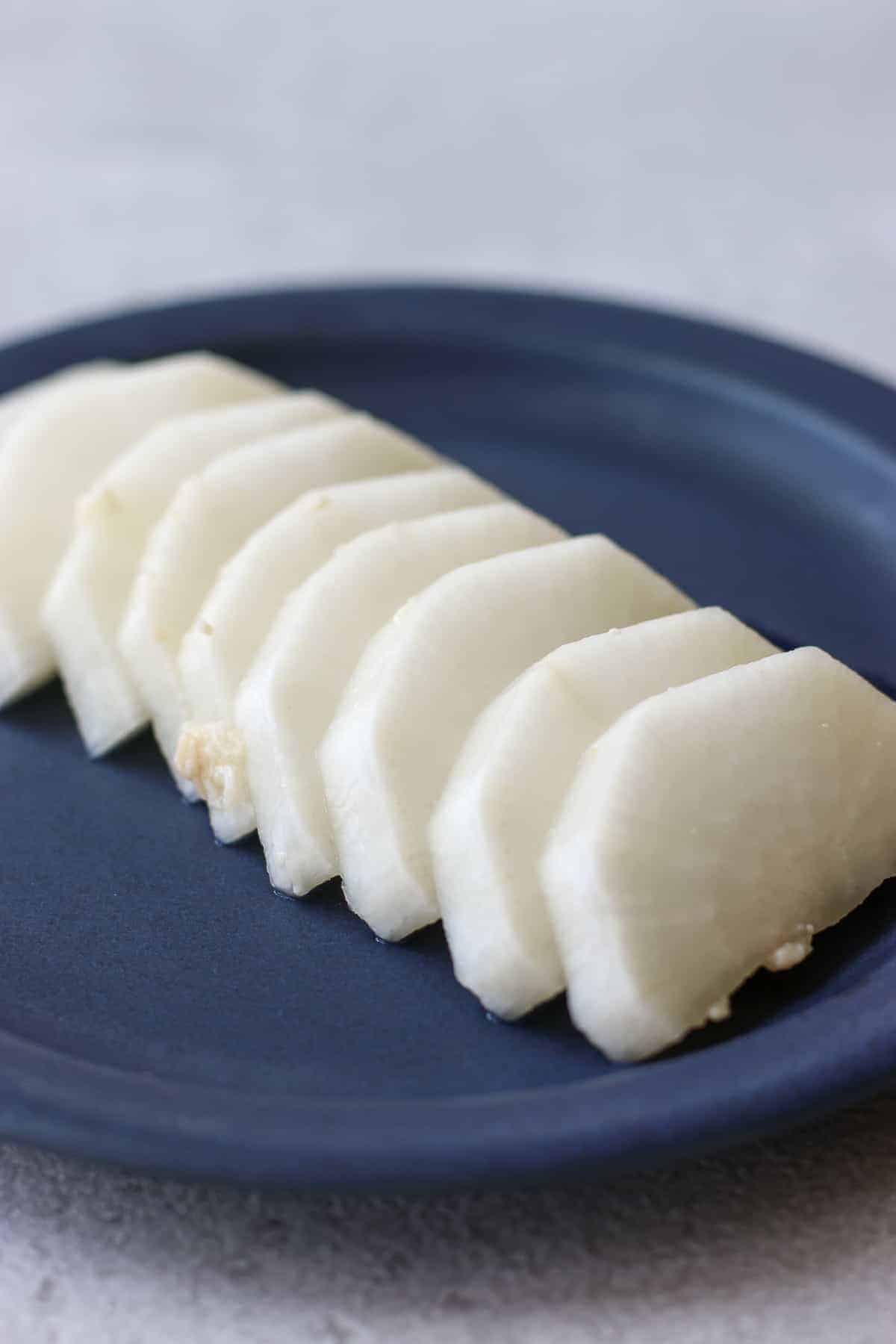 Japanese pickled daikon on a plate