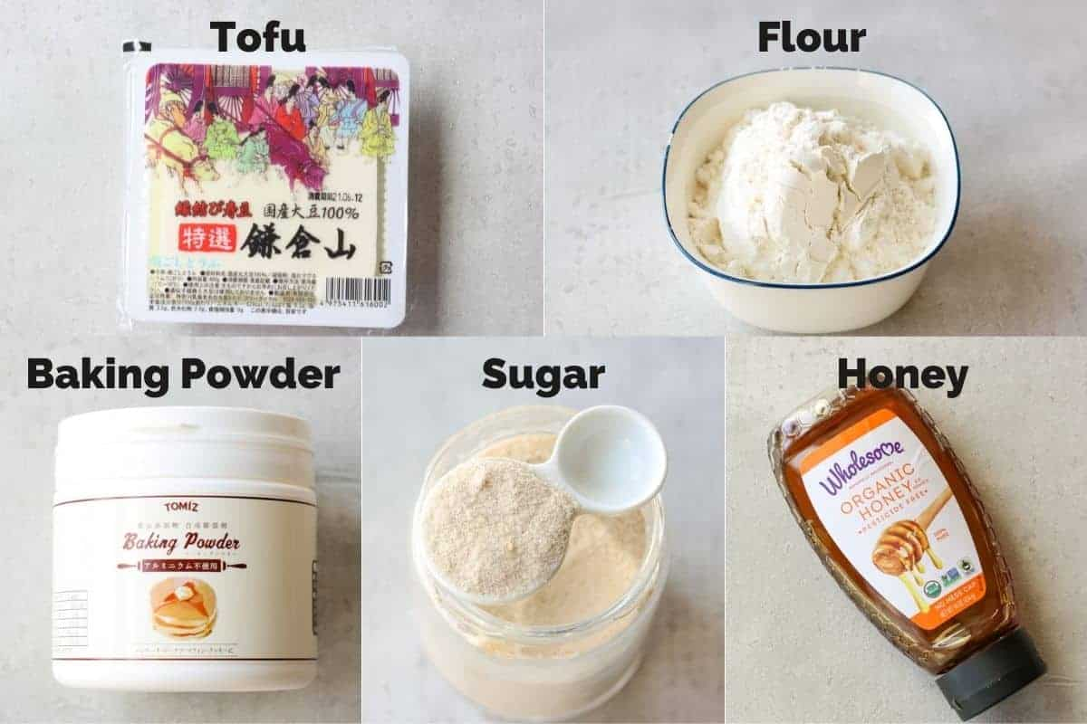 5 ingredients for tofu donut ball recipe