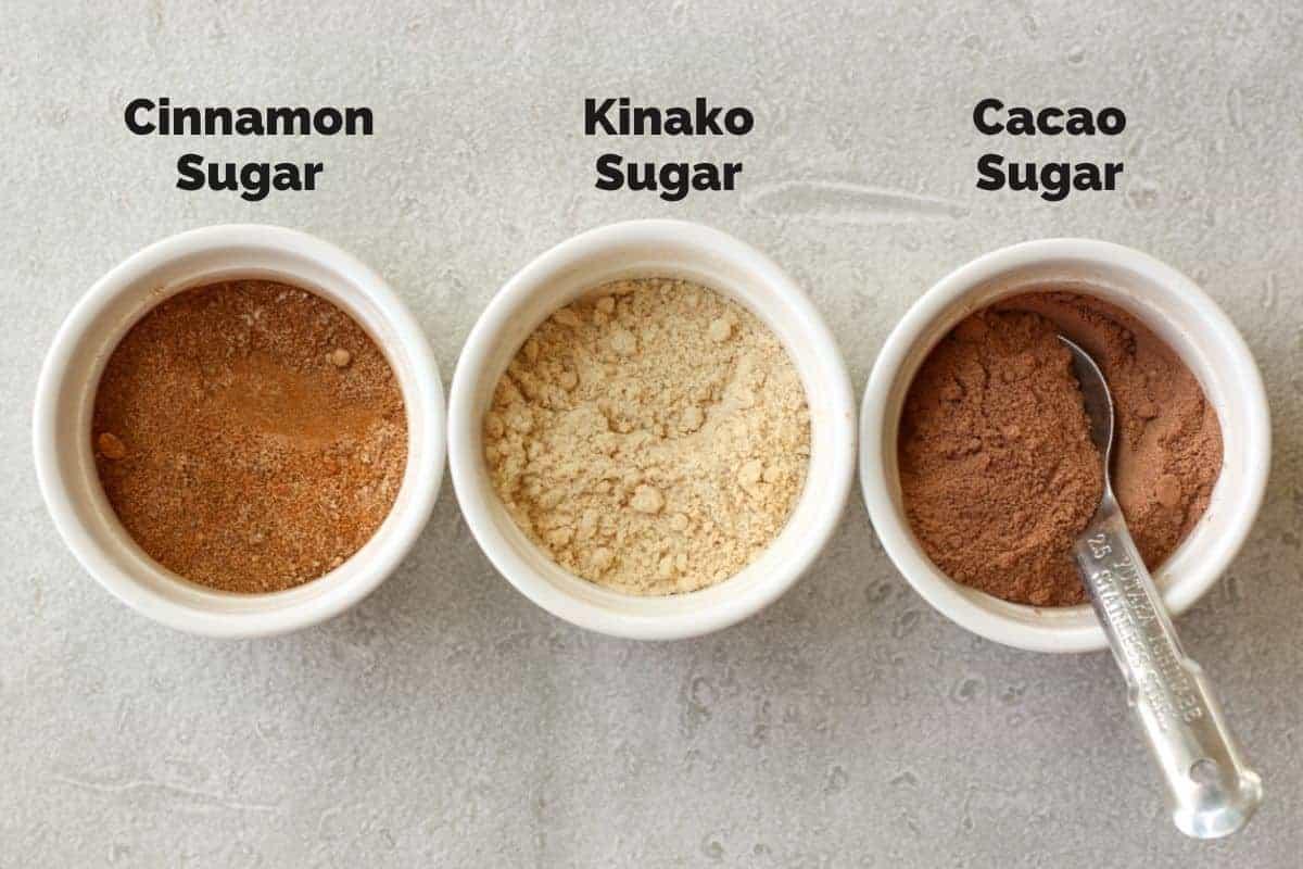 3 sugar toppings for tofu donut balls