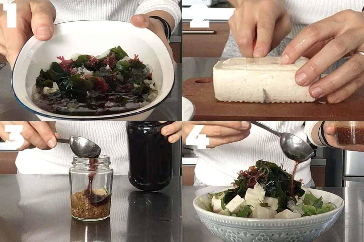 豆腐と海藻のサラダの作り方ステップ