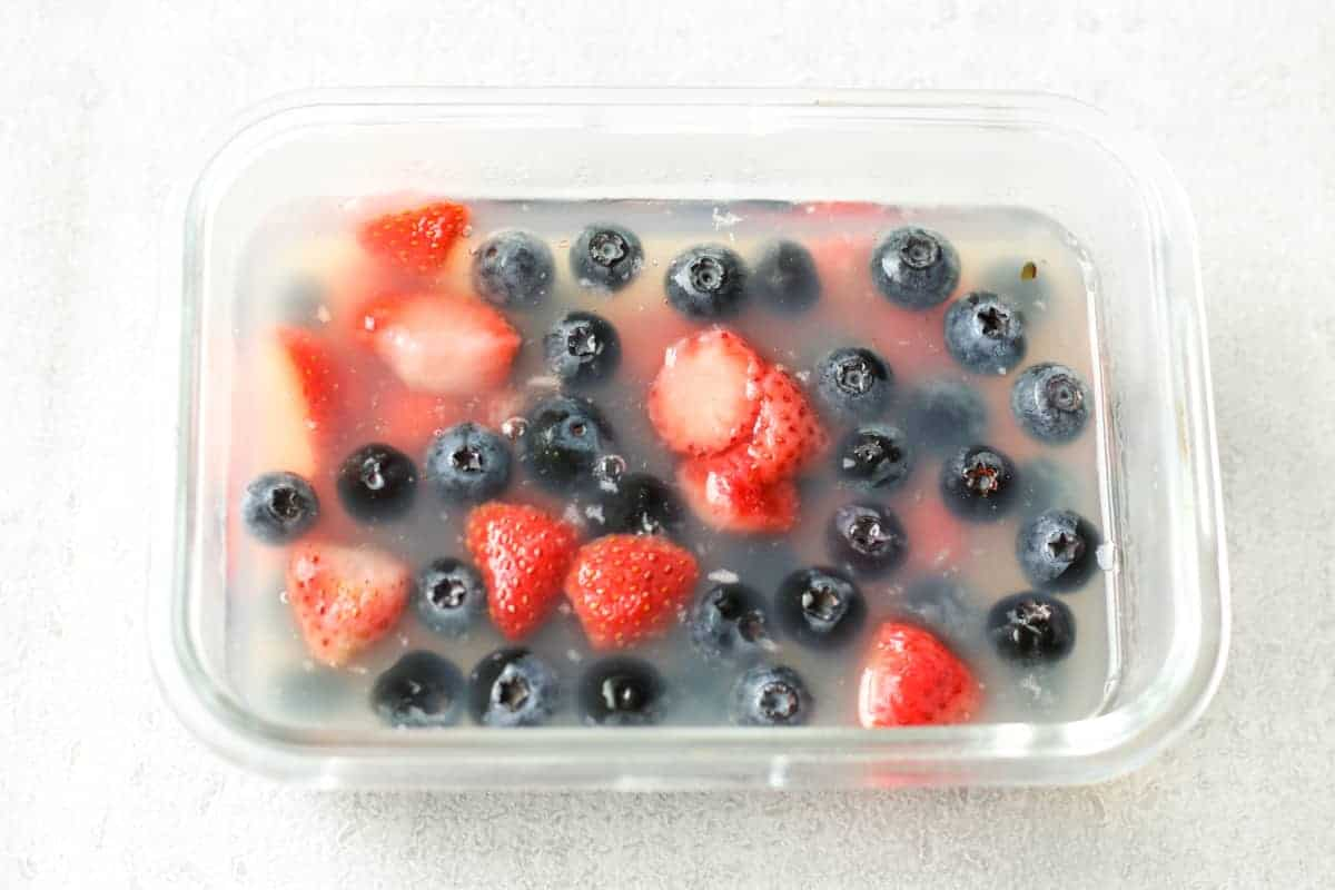 kanten fruit jelly in a glass food storage container