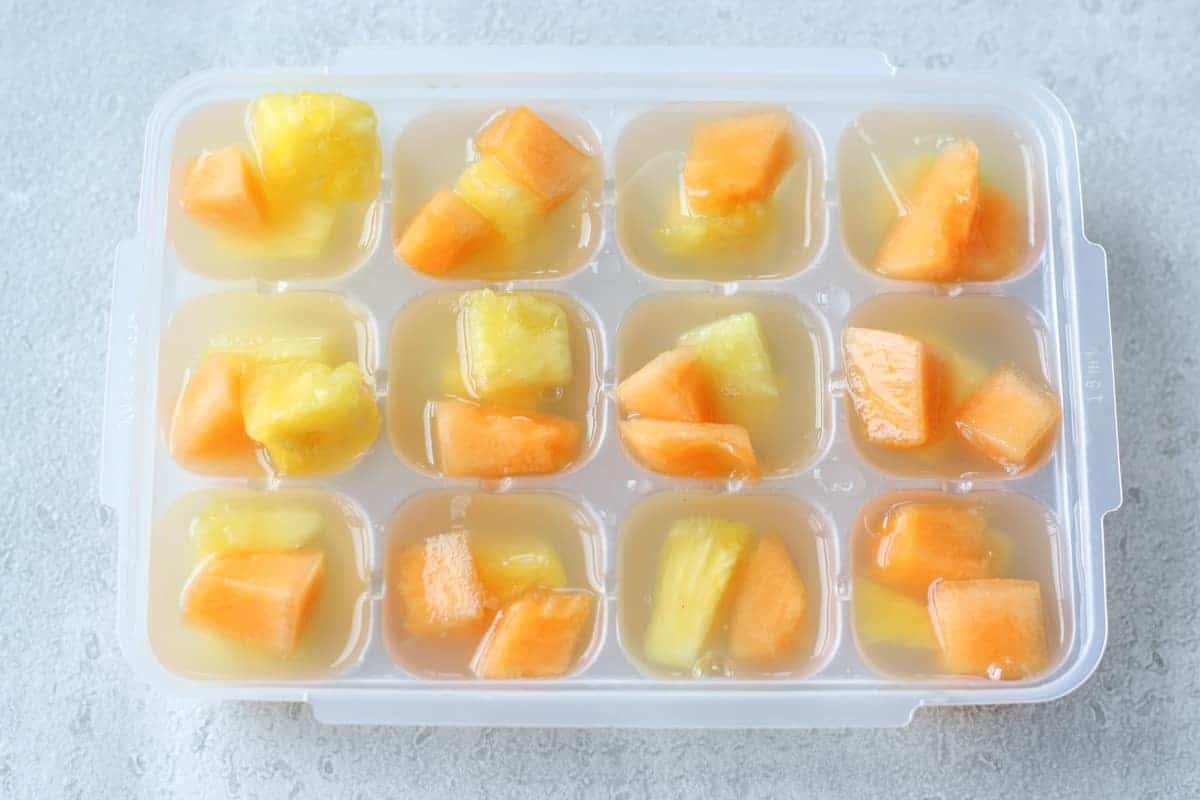kanten fruit jelly in a ice cube tray