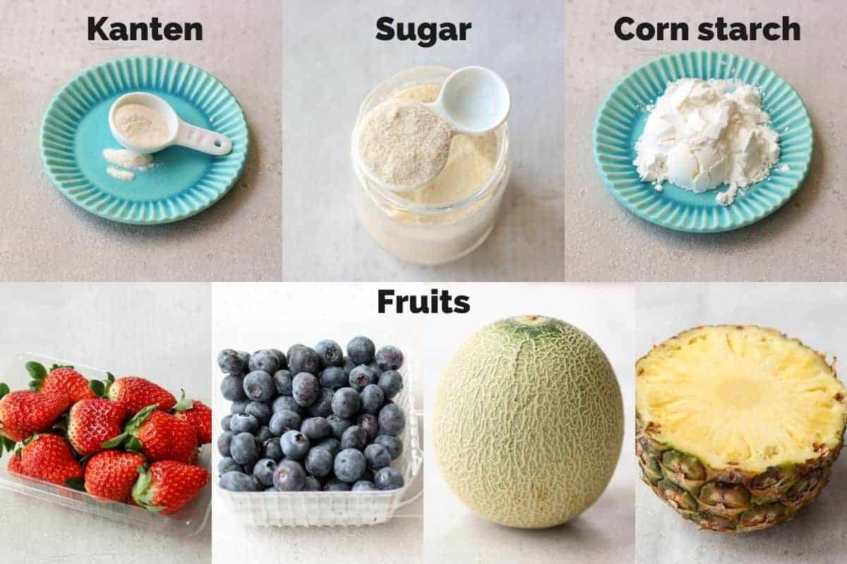 ingredients for kanten fruit jelly