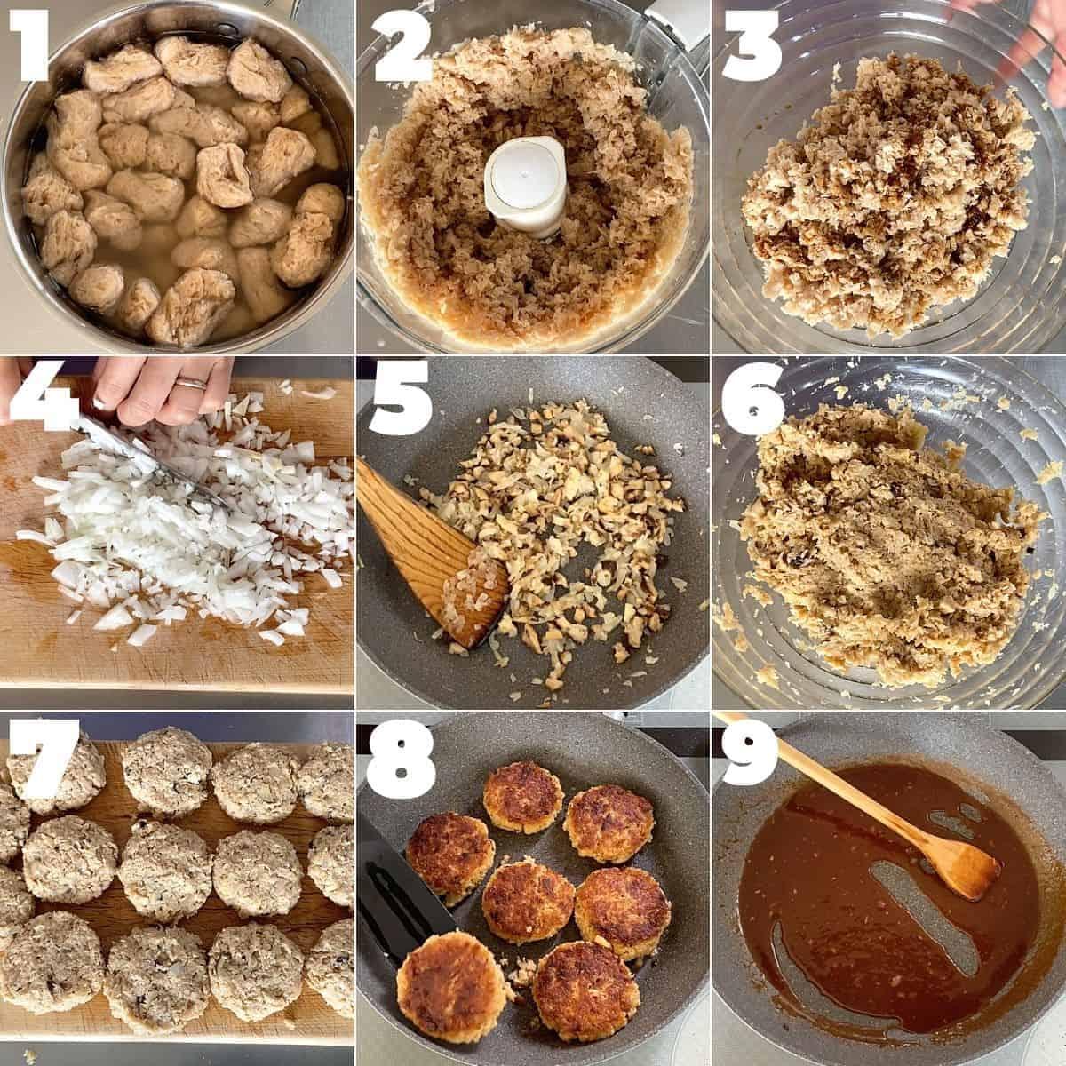 大豆ミートハンバーグの作り方ステップ