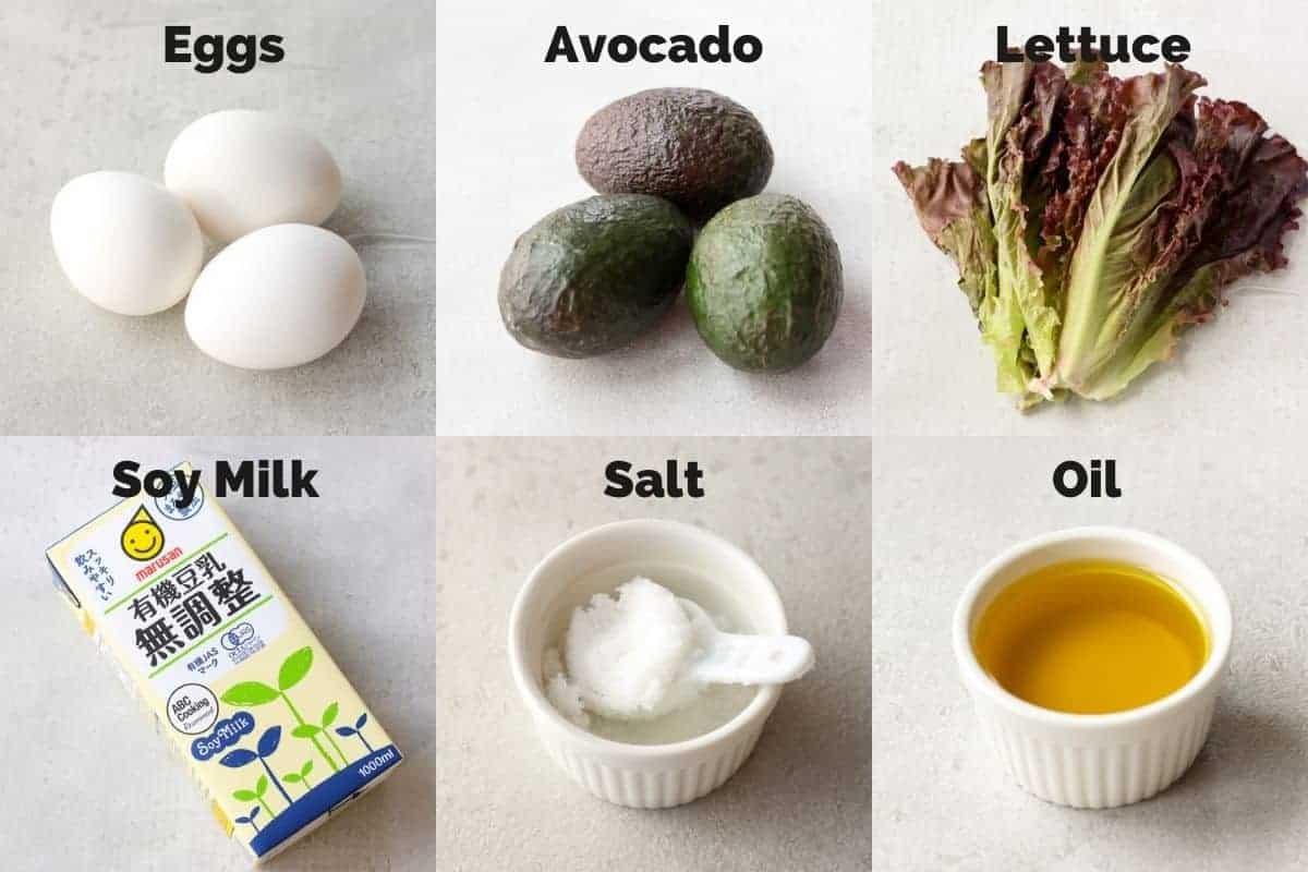 ingredients for avocado omelet