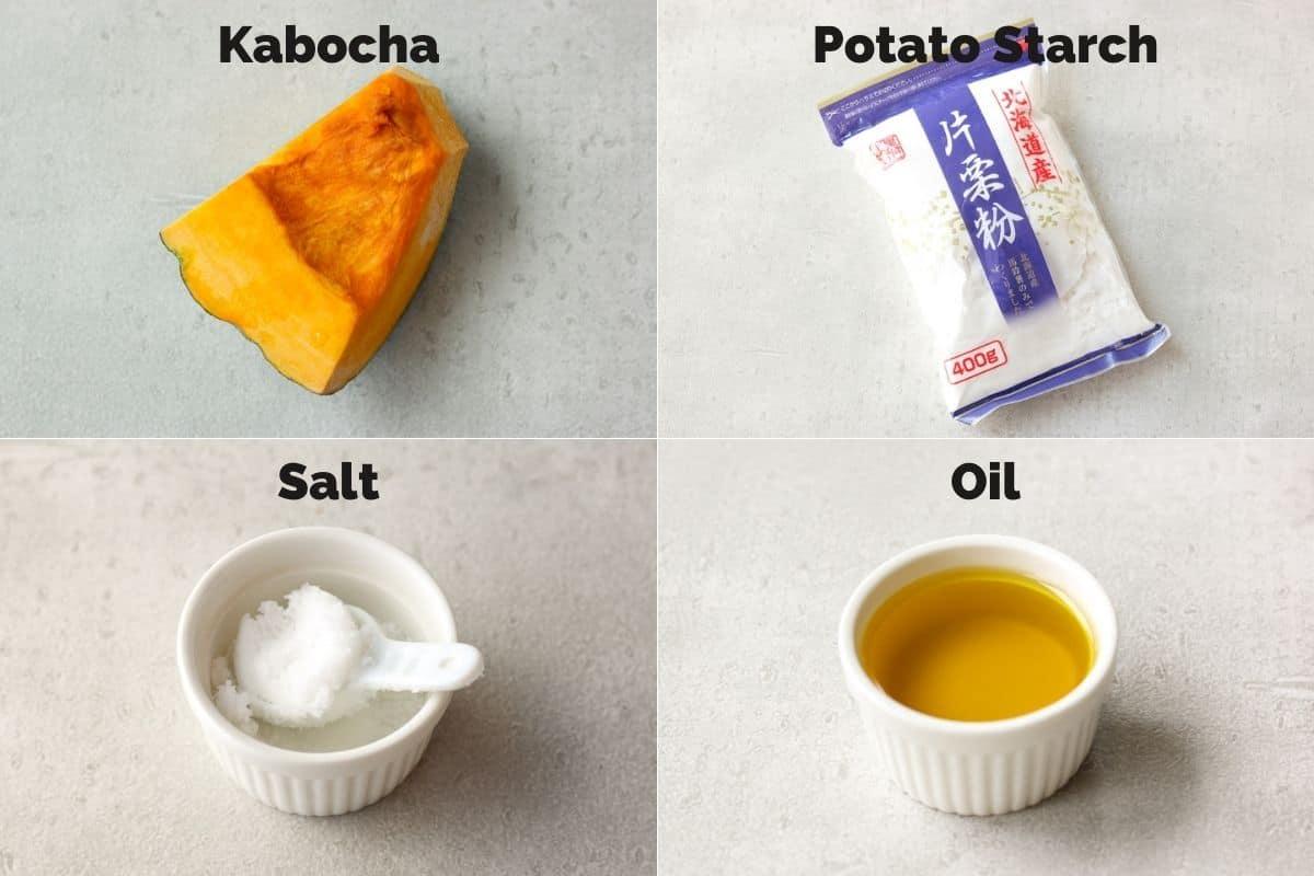 ingredients for fried kabocha squash