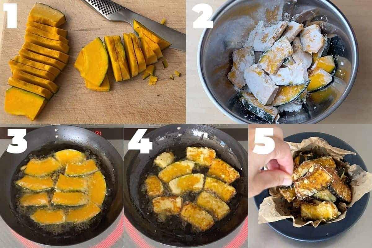 how to make fried kabocha squash step by step