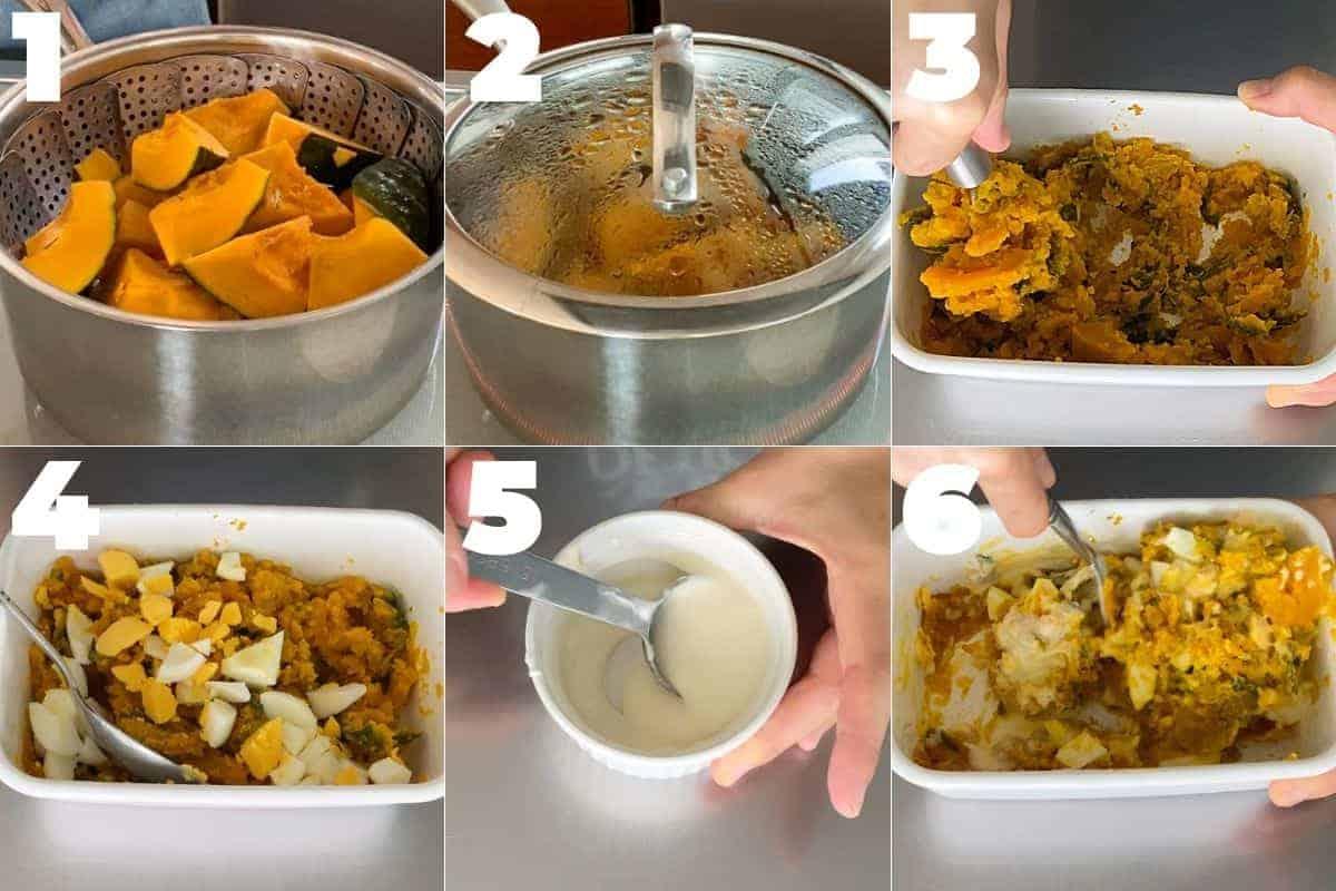 ゆで卵入りかぼちゃサラダの作り方