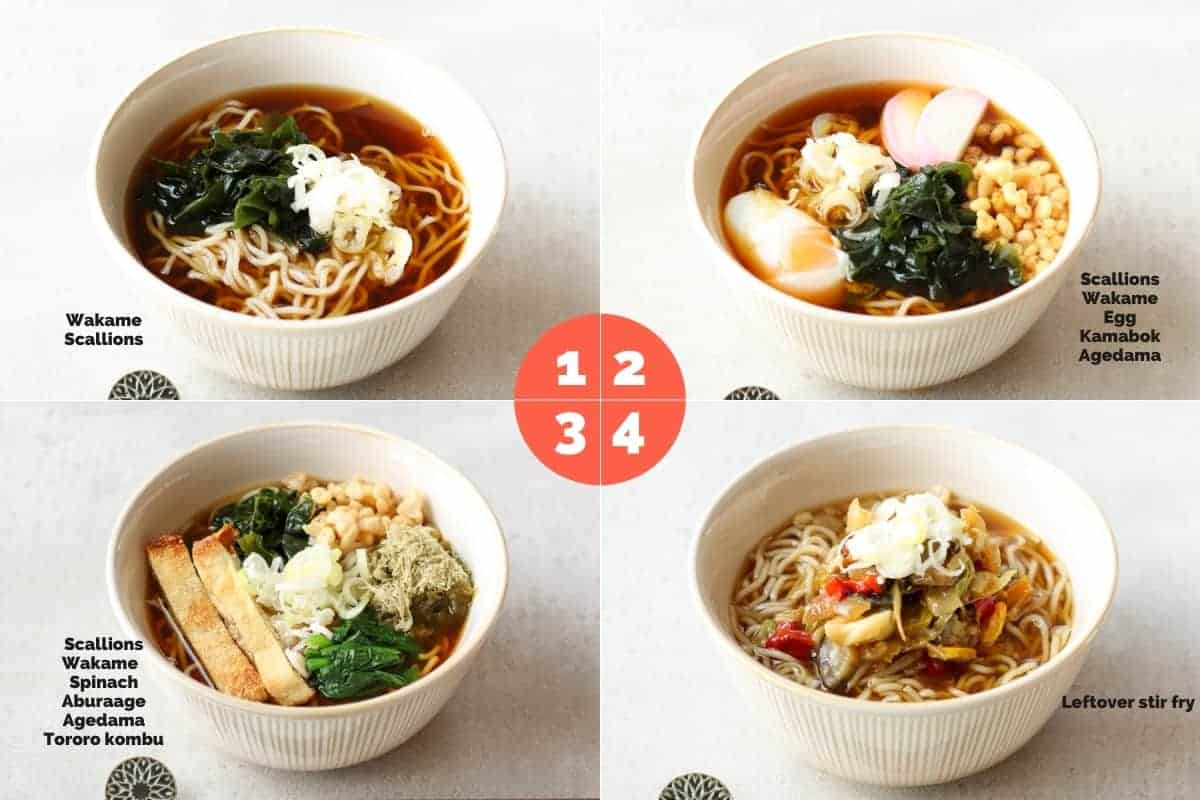 4 different way to add toppings in kake soba